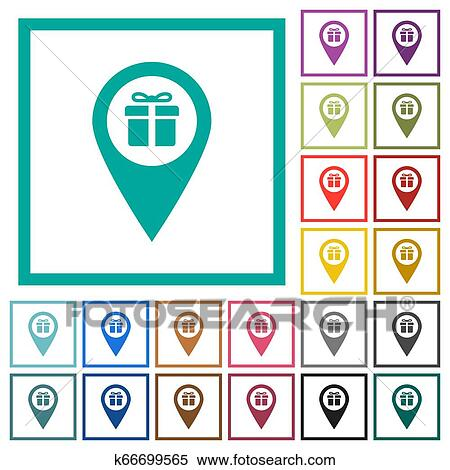 Gift Shop Gps Map Location Flat Color Icons With Quadrant Frames Clipart K66699565 Fotosearch