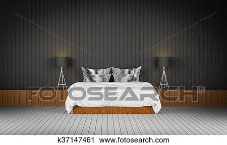 Clipart - grenier, style, chambre à coucher, 3d, rendre k37147461 ...