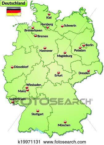 Kaart Van Duitsland Clipart K19971131 Fotosearch