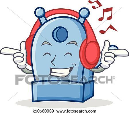 clip art of listening music pencil sharpener character cartoon rh fotosearch com listening to music clipart kid listening to music clipart