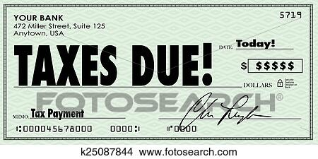 drawings of taxes due check money send payment income revenue