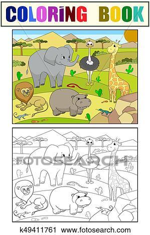 Clipart Tiere Von Afrikas Savanne Färbung Vektor Für