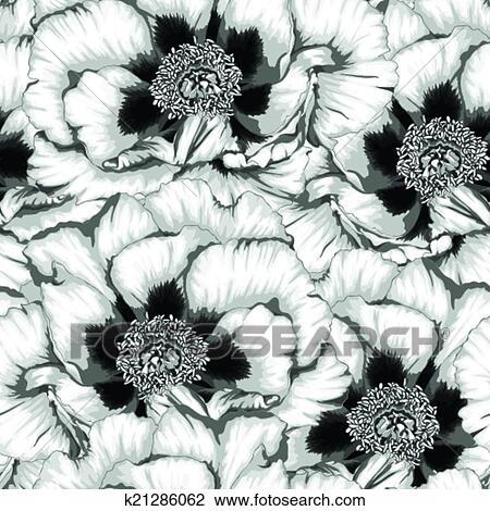 Beau Monochrome Noir Blanc Seamless Fond à Fleurs Plante Paeonia Arborea Tree Peony Clipart