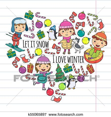 Christmas Celebration Images For Drawing.Children And Winter Games Ski Sledge Ice Skating Christmas Celebration Kindergarten Kids Play And Having Fun Santa Claus Snowman Deer