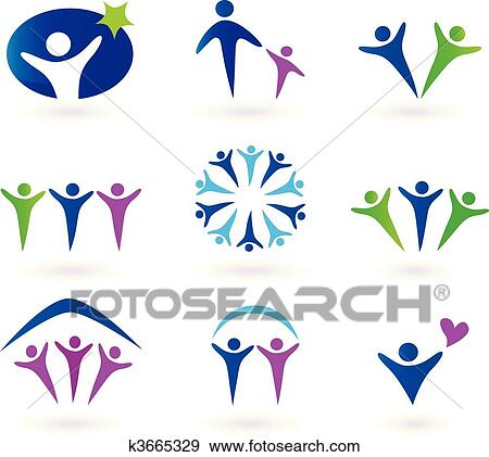 clip art of community network and social icons k3665329 search rh fotosearch com clipart icons for powerpoint clip art constellations