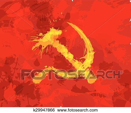 Clip Art Of Grunge Hammer And Sickle Symbol Of Communism On Red