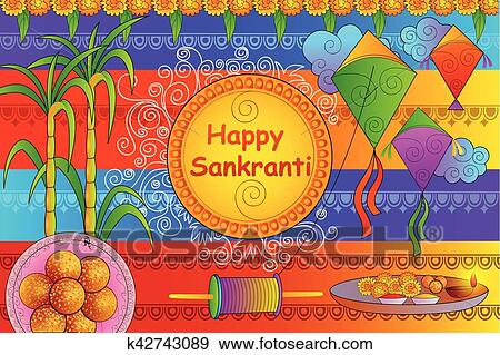 Happy Makar Sankranti Festival Celebration Background Clip Art