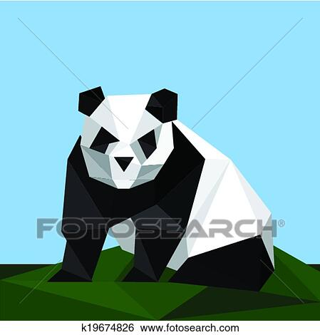 Clip Art Of Origami Panda On Grass K19674826 Search Clipart