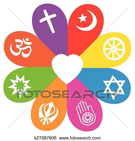 Clip Art Religion Symbole Blume Liebe Farben K27087606 Suche