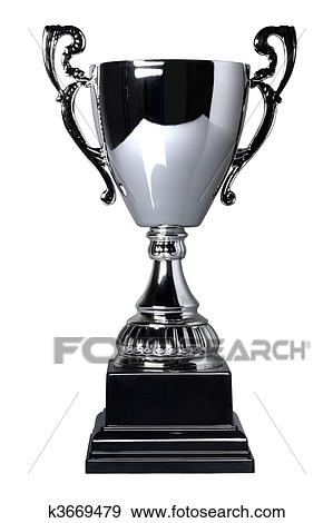Silver Trophy Cup On Stand Isolated A White Background With Clipping Path Plain Reflection