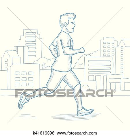 20165400763b Caucasian man running in the city. Male runner jogging in the city.  Sportsman running in the city street. Male athlete jogging in the city.