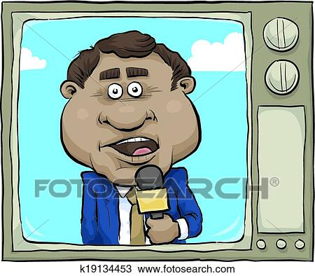 A Cartoon News Reporter On The Screen Of Retro Tv