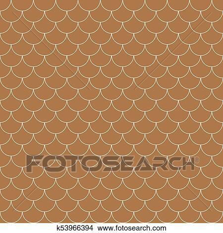 Vector Geometric Fish Scales Chinese Seamless Pattern Wavy Roof Tile Background Clipart K53966394 Fotosearch