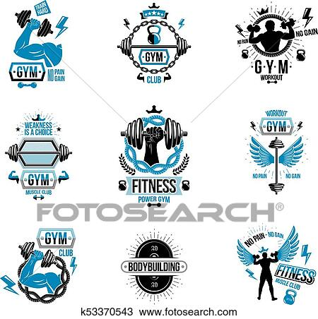 Vector Weightlifting Theme Logotypes And Inspirational Leaflets Collection Made Using Dumbbells Barbells Disc Weights Sport Equipment And Strong Man Perfect Body Clipart K53370543 Fotosearch