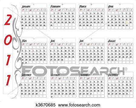 2011 Calendario.2011 Calendario Clipart