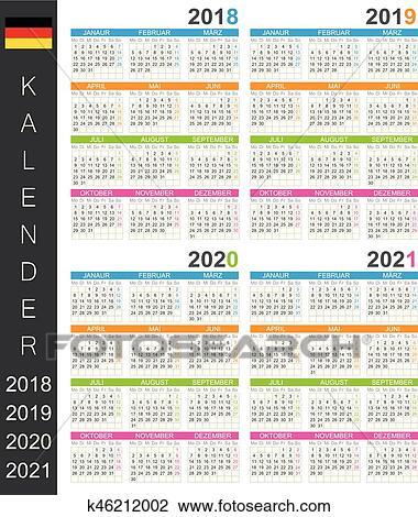 Calendrier 2018_2021 Calendrier, 2018 2021 Clipart | k46212002 | Fotosearch