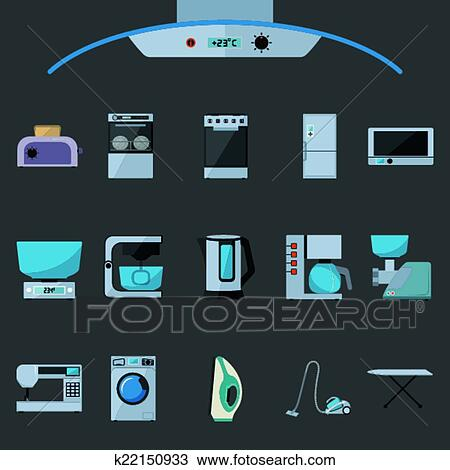 clipart ensemble de appareils lectrom nagers plat ic nes k22150933 recherchez des clip. Black Bedroom Furniture Sets. Home Design Ideas