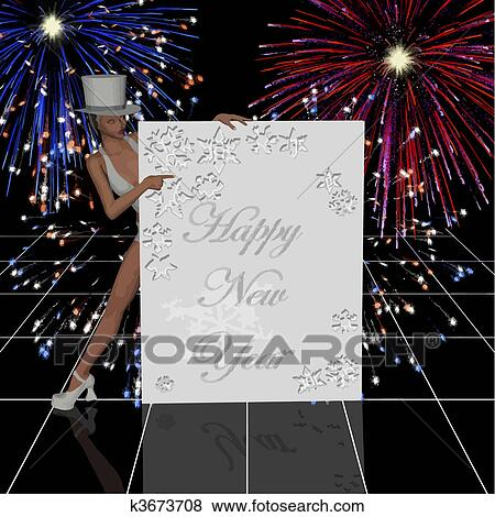 happy new year banner with fireworks and cabaret girl in top hat