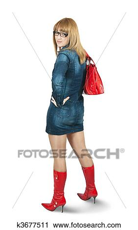 Stock Fotografie Madchen In Blaues Kleid Ang Rot Hohe Stiefel