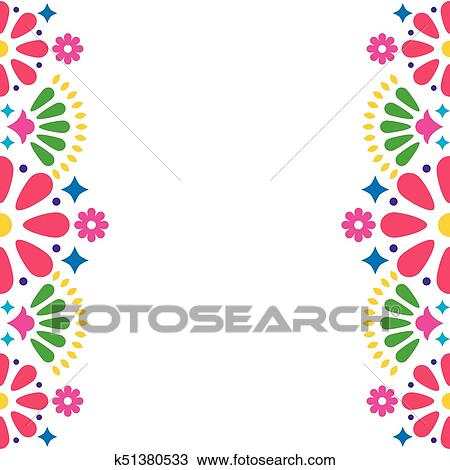 Clipart Mexican Folk Vector Wedding Or Party Invitation Greeting Card Colorful Frame Design