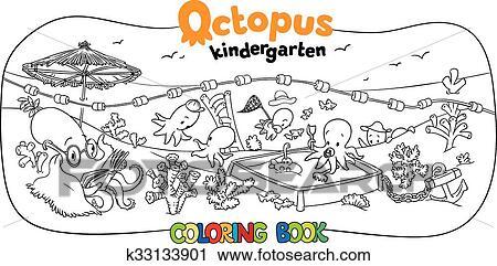 Oktopus Kindergarten Ausmalbilder Clipart K33133901