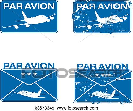 Par Avion Rubber Stamp 03 Clipart K3673345 Fotosearch