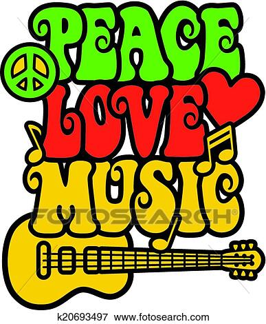 Clip Art Of Peace Love Music In Rasta Colors K20693497 Search