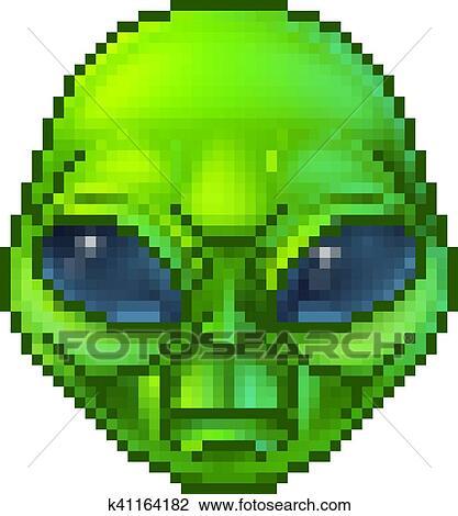 Pixel Art Alien Character Clipart K41164182 Fotosearch