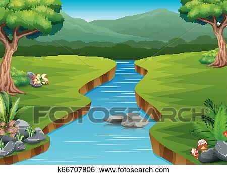 River Cartoons In The Middle Beautiful Natural Scenery Clip Art