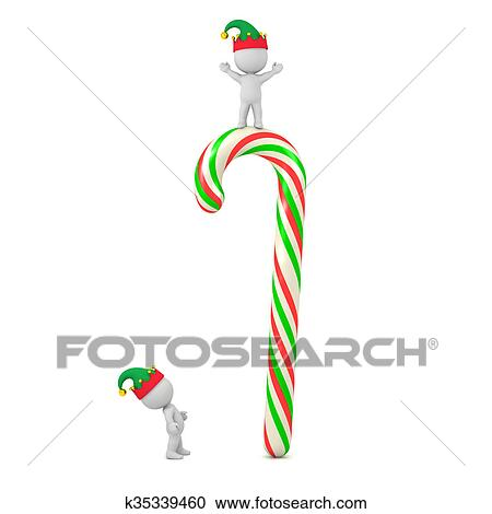 f520278618cd2 Clipart - Small 3D Character with Elf Hat Looking Up at Very Large Colorful  Candy Cane