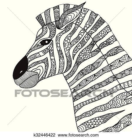 Zebra coloring book Clipart | k32446422 | Fotosearch