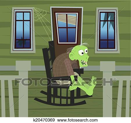 Rocking Chair On Porch Drawing On Cute Zombie Is Sitting On Rocking Chair In His Porch Eps10 Clip Art Of Zombie Rocking Chair K20470369 Search Clipart