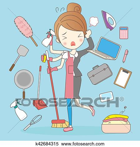 Cartoon Super Housewife Concept Clipart K42684315 Fotosearch