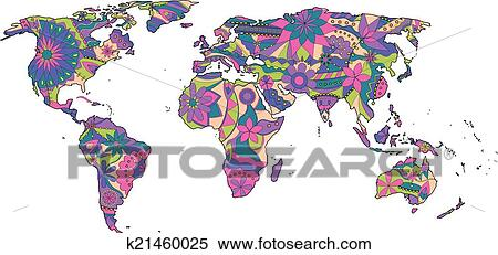Colorful World Map Art.Clipart Of Colorful World Map K21460025 Search Clip Art