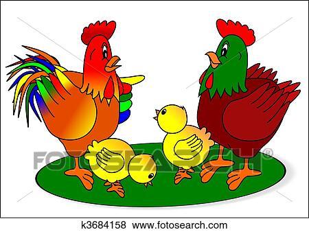 Clipart coq poule et poussins k3684158 recherchez - Photos poules rigolotes ...