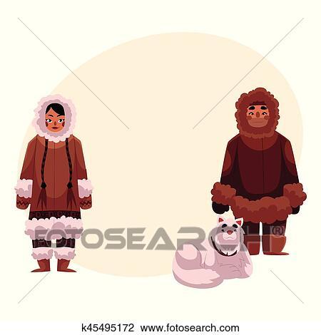Esquimau Inuit Couple Dans Chaud Vêtements Hiver à Traîneau Chien Clipart
