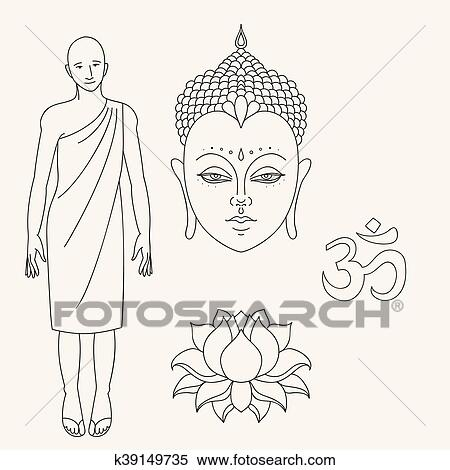 Clipart of head of buddha outline buddhist monk om sign hand head of buddha om sign outline buddhist monk hand drawn lotus flower isolated icons of mudra beautiful detailed serene vintage decorative elements mightylinksfo