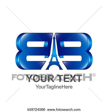 Initial Letter Bb Logo Template Colored Blue With Eiffel Tower