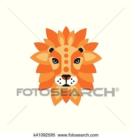 Clipart Lion Africaine Animaux Stylisé Géométrique Tête