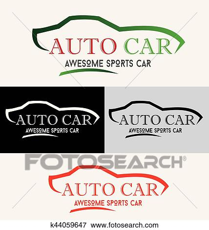 Modern Auto Vehicle Company Logo Design Concept With Sports Car Silhouette Clip Art K44059647 Fotosearch