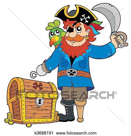 Pirate with old treasure chest Clipart | k3688191 | Fotosearch