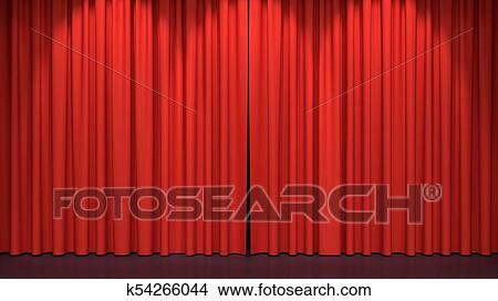 Drawings Of Red Stage Curtains K54266044