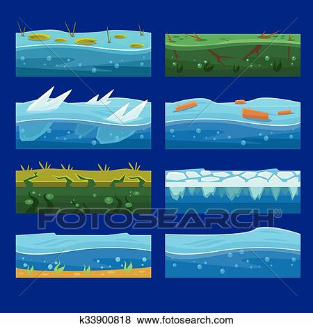 Seamless Oceano Mare Acqua Onde Vettore Sfondi Set Per Ui