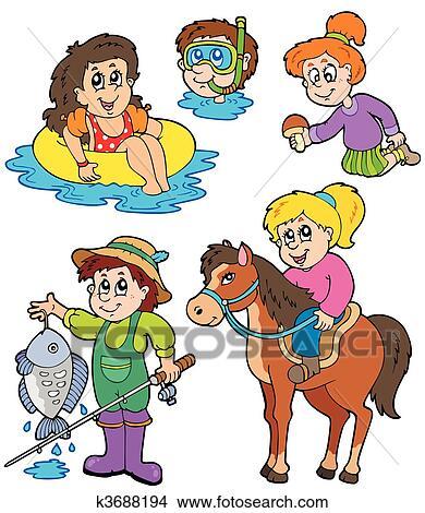 Clipart Of Summer Kids Activities Collection K3688194