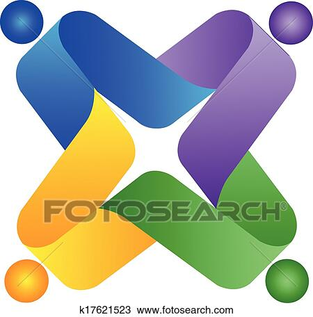 clipart of teamwork people colorful logo k17621523 search clip art rh fotosearch com business card background clipart business card clipart images