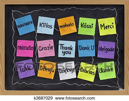 stock photograph of thank you in different languages k3687029 rh fotosearch com free thank you in different languages clipart thank you in many languages clipart
