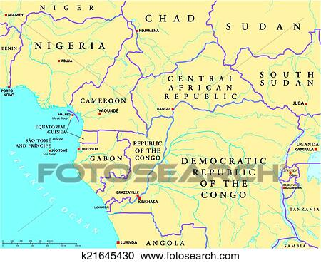 West Central Africa Political Map Clipart K21645430