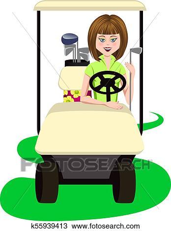 Woman Golfer In A Golf Cart Clipart K55939413 Fotosearch