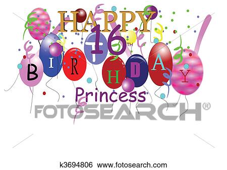 Clip art of 16th birthday greeting for girl k3694806 search clip art 16th birthday greeting for girl fotosearch search clipart illustration posters m4hsunfo