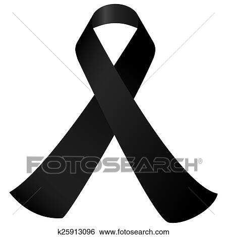 Clip Art Of Black Mourning Ribbon K25913096 Search Clipart